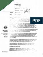 MSU interim President John Engler's resignation letter