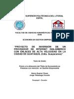 Proyecto Creacion Plan de Negocion Proveedor Servicios de Internet Inalambrico