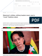 Myanmar's Civilian, Military Leaders Meet, Vow to Crush Rakhine Rebels _ Reuters