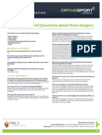 Jf Frequently Asked Questions About Knee Surgery