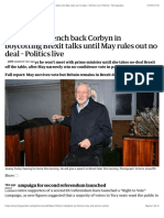 Labour frontbench back Corbyn in boycotting Brexit talks until May rules out no deal – Politics live | Politics | The Guardian