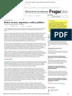 Redes Sociais, Imprensa e Esfera Pública _ Observatório Da Imprensa