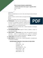 Modelo Relatório de Uma Atividade Laboratorial