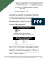 Instructivo de Operación Para Medición de Cloro Residual en El Agua