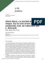 Sobre Beck - La Société Du Risque. Sur La Voie d'Une Autre Modernité, Trad. de l'Allemand Par L. Bernardi
