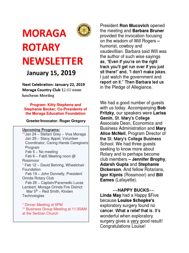 Rotary Club of Moraga Newsletter for Jan 15 2019