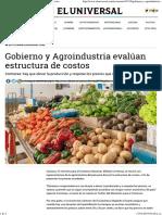 Gobierno y Agroindustria Evalúan Estructura de Costos