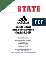 2019 Raleigh Relays High School Meet Information