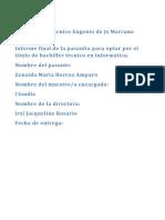 Instituto Politécnico Eugenio de Js Marcano Fondeur Reporte Pasantia 2018 Terminado