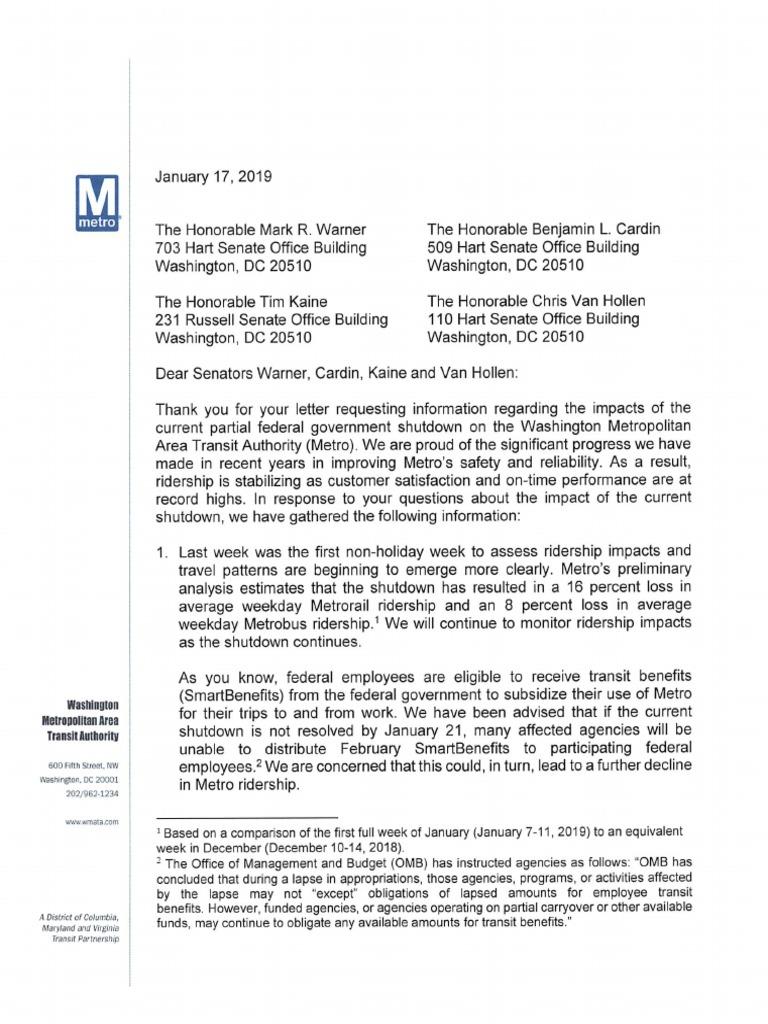 WMATA letter to Democratic Senators on revenue loss during