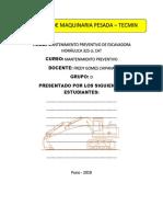 informe de mantenimiento preventivo de excavadora 325 cl