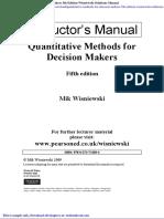 Quantitative Methods for Decision Makers 5th Edition Wisniewski Solutions Manual