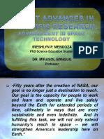 Recent Advances in Scientific Research