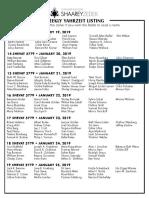 January 19, 2019 Yahrzeit List