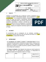 PRC-SST-013 Procedimiento Para La Investigación de Incidentes, Accidentes y Enfermedades Laborales