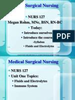 NUR127 Unit 1 Lecture 1 Fluid and Electrolytes