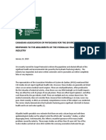 RESPONSES TO THE ARGUMENTS OF THE HYDRAULIC FRACTURING INDUSTRY - Canadian Association of Physicians for the Environment