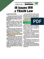 Bir Issues Irr on Train Law