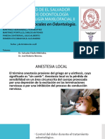 Anestesia Local en Odontologia