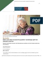 67 Ny Studie_ Eldre Som Løser Kryssord Og Spiller Vanskelige Spill Har Skarpere Hjerner