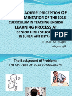 English Teachers' perception of the implementation of 2013 Curriulum