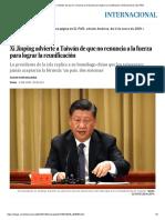 Xi Jinping  quiere anexar a China Taiwan
