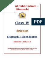 Class IV Science Sitamarhi Talent Search 2013 1