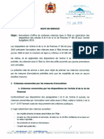 Note 15-01-2019 Annulations D'office de Certaines Creances Dues a L'etat