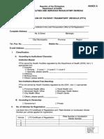 Registration of Patient Transport Vehicle
