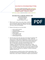 Tips in Psychological Report Writing