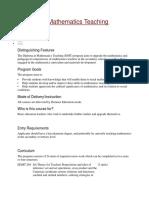 Diploma in Mathematics Teaching