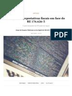 Novas Posições Interpretativas Fiscais RE 176 STF