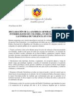 Declaración Interreligiosa de Rechazo a La Violencia en Colombia