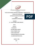 Actividad de Investigación Formativa Planes de Acción Organizacional 2018 II.