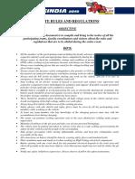 Baja Saeindia 2019 Onsite Rules and Regulations