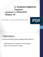 Plenary 10 - Writing the Critical Review