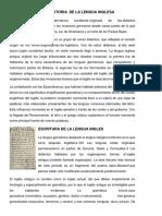 Origen e Historia de La Lengua Inglesa