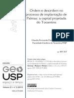 BESSA, K. (2017) - Ordem e Desordem No Processo de Implantação de Palmas