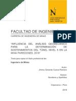 Analisis geomecanico de tunel para determinar macizos rocosos