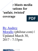 Duterte Blasts Media Organizations For