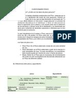 Cuestionario Pisco