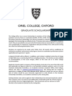 Oriel Graduate Scholarships Advert 2019