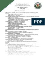 Diagnostic/Pre Test in MAPEH 9
