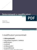Determinanti e Modificatori