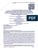 A STUDY ON THE IMPLEMENTATION OF PRE- CONSTRUCTION HEALTH AND SAFETY PLANNING IN THE CONSTRUCTION PROJECTS IN UNIVERSITAS NEGERI SEMARANG IN 2018