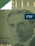 Vicente Huidobro Homenaje en revista Orfeo, 1965