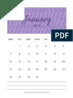2019 Wall Calendar Monday Clementine Creative