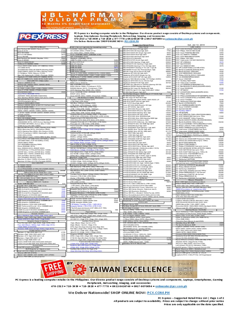 e861e7032b1 2019-01-12 - Pc Express - Suggested Retail Price List | Desktop Computer |  Personal Computers