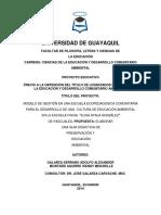 Modelo de Gestión en Una Escuela Ecopedagógica Comunitaria Para El Desarrollo de Una Cultura de Educacion Ambiental