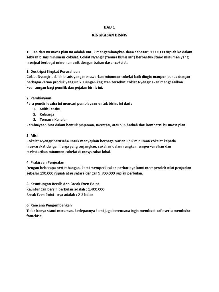 Business Plan Cokelat Nyengir